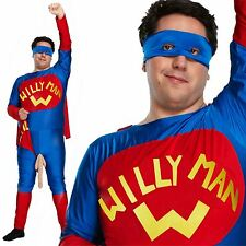 PLUS SIZE XL Willy Man Fancy Dress Costume Stag Night Mens Adult Superhero