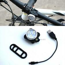 Portable USB Rechargeable Mountain Bike Bicycle Front Head Safety 3 LED Light SS