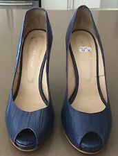 "Pre-owned URBAN SOUL ""Blue Denim"" Peep toe Stiletto Heel Pumps Size 38 (8)"