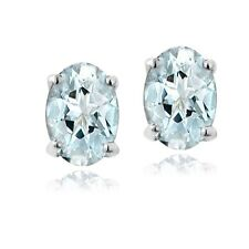 Sterling Silver 1.6ct Genuine Aquamarine 7x5 Oval Stud Earrings