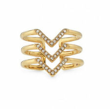 Authentic Pave Chevron Ring Adjustable Geometric Unique Thin Gold Brass Band