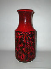 """Carstens Pottery Vase 7650-30 Red Black Europa 12"""" West German Fat Lava 1970s"""