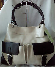 Tommy & Kate ladies cream leather shopper with brown trims-bnwt