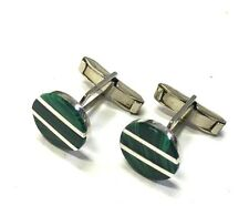 New Mexico 925 Sterling Silver and Green Malachite Unisex Cuff Link Gift