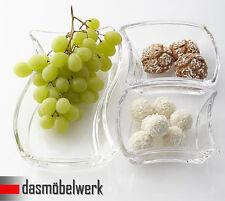 Leonardo 3er Set Twisty Schale für Snacks Dippschale Glas Deko Servierschale