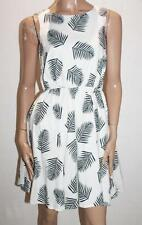 TARGET Brand White Leaf Print Sleeveless Flare Dress Size 10-S BNWT #SB55