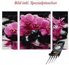 Orchideen Set Malen nach Zahlen Schipper Triptychon 50x80cm inkl. Pinselset