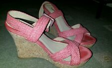 Cork wedge sandals pink never worn