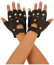 Black Biker Studded Leather Faux Fingerless Gloves Goth Punk Driving Cycling