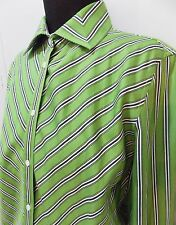 AS NEW Size M Jones New York Green & Black Striped Cotton Blouse