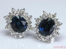 ~2CT 14K White Gold Natural Blue Sapphire & Diamond Victorian Cluster Earrings~