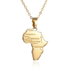 18K GOLD PLATED MEN WOMEN SMALL AFRICA MAP PENDANT WITH CHAIN NECKLACE UK SELLER