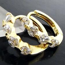 AN966 18K YELLOW G/F GOLD SOLID CLASSIC DIAMOND SIMULATED HUGGIE HOOP EARRINGS