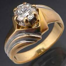 Fancy 18K GOLD & DIAMOND ENGAGEMENT DRESS RING solid yellow Val=$5745 Sz N1/2