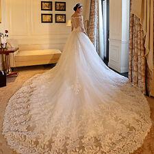 Luxus Weiß Elfenbein Spitze A-Linie Hochzeitskleid Brautkleider Kathedrale 36-50
