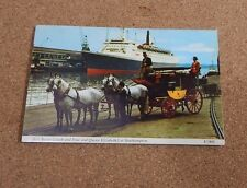 R.M.S Queen Elizabeth 2 QE2 with Red rover coach and horses posted 1971 xc1