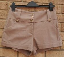 LIPSY BEIGE BUTTONED TAILORED WORK FORMAL RARE SUMMER SEXY SHORTS HOT PANTS 12