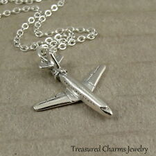 Silver Airplane Jet Necklace - Travel Boeing 747 Charm Pendant NEW