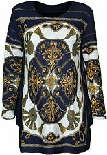 Womens Free Size Top Front And Back Printed Design Fit For 12 14 16 Long Sleeves