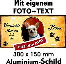 Hunde Schild eigenes Foto eigener Text Chihuahua Chiwawa Türschild Warnschild