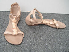 Atmosphere Nude Patent Faux Leather Snake Print Flat Jewelled Sandals Size 6/39