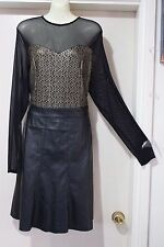 DRESS UP WITH MYNT1792 NWT BLACK LONG SLEEVE DRESS  LEATHER LOOK BOTTOM SIZE 14W
