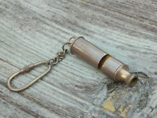 BEAUTIFUL Solid Brass Boy Scouts Whistle Key Chain Ring