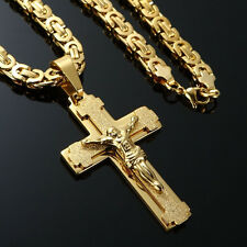 """Mens Stainless Steel Cross Necklace Chain 18K Gold Filled Jesus Pendant 24"""""""