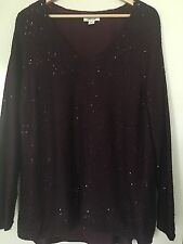 LADIES PLUS SIZE M ( 20 22 ) LINED BE ME V NECK SPARLE TOP BURGANDY PRE LOVED