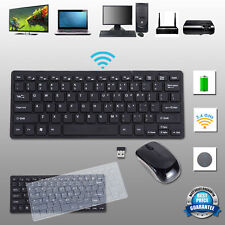 Slim 2.4GHz Wireless Keyboard and Cordless Mouse Kit Black for Desktop Laptop PC