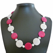 """Hot pink and white shell disc bead necklace 20"""" - balouli"""