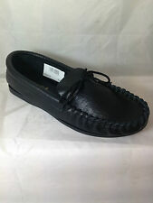MENS BLACK REAL LEATHER MOCCASIN SLIPPERS,ENGLISH, BOAT SIZE 8 shoes