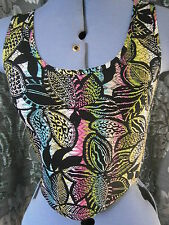 NEW New Look - Black, Yellow & White Floral Crop Vest Shirt - Size 8-10 - Small