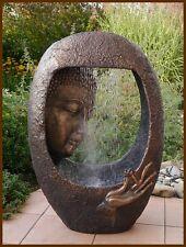 BUDDHA Brunnen/Gartenbrunnen Wasserwand 90 cm ho. LED Licht u. Nebler runde Form