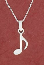 Music Note Necklace Solid 925 Sterling silver Charm Pendant and Chain Single