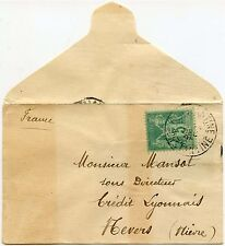 FRENCH ALGERIA UNSEALED MAIL 1898 SMALL ENVELOPE 5c ALLEGORY SINGLE FRANKING