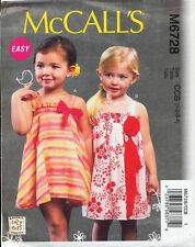MCCALL'S SEWING PATTERN 6728 TODDLERS/GIRLS SZ 1-4 EASY FLARED, GATHERED DRESSES