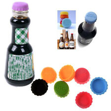 6X Colorful Silicone Lids Reusable Bottle Cap Cover Sealer Beer Soda Wine Savers