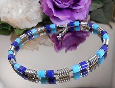 Hübsches Walzen Collier - Halskette in Blau Türkis Silber