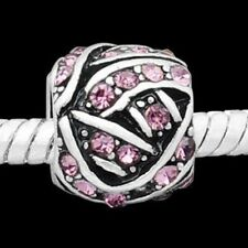 Silver Pink Stone Charms Bead For Charm Bracelets