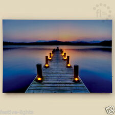 40x60CM ILLUMINATED HOME WALL ART JETTY PIER LED LIGHT UP PRINT CANVAS, 8 LEDS