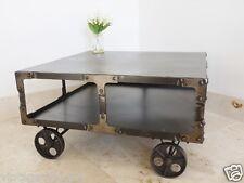 Metal Industrial Railway Style Coffee Table on Wheels