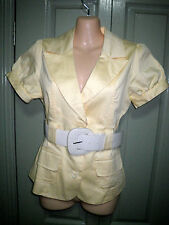 New Temt 10 Yellow Lined Crop Sleeve Pocket Front Top Work Jacket & Free Belt