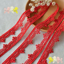 1.5 cm Red Embroidered Venise  Lace Trim By the Metre