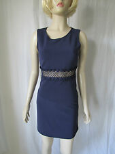 River Island 'Milly Miami' navy blue lace inset skater dress Size 8 New