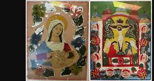 A pair of original vintage striking religious images reverse painting on glass