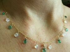 4ct Moonstone untreated Zambian Emerald pear tear solid 14k gold necklace