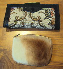 Two vintage purses ~ leather /tapestry purse wallet & fur hide coin purse