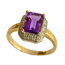AMETHYST DIAMOND RING. BRIGHT PURPLE AMETHYST + 12 DIAMONDS IN 9K GOLD. SIZE O.