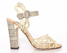 NWT £570 DOLCE&GABBANA Beige Grey Snake Sandals Net Shoes Block Heels EU40/UK6.5